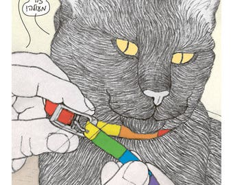 Cats Pride collar Postcard in Hebrew featuring Raf, the famous Israeli cat from Ha'aretz Newspaper Comics