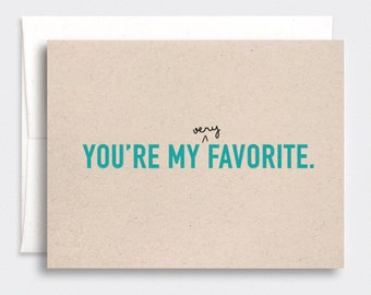Funny Father's Day Card - You're My Favorite, Don't Tell Mom - Brown Recycled - Teal Pink Red Blue or Purple