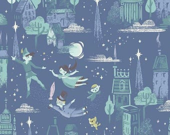 1m of Riley Blake Neverland in blue, Peter Pan fabric