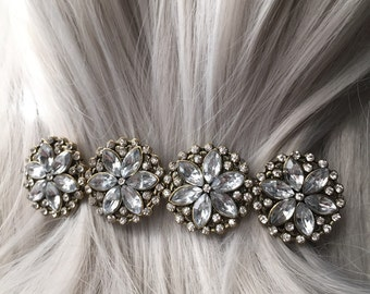Flower Thick Hair Clip - Hair Clips For Women - Bridal Jeweled Hair Clip  - Silver Accessories For Women - Wedding Hair Accessories 100mm