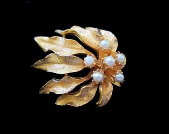 Vintage De Mario Pearl Leaves Brooch