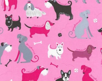 Classy Canines Dogs on Pink Cotton Woven by Robert Kaufmann