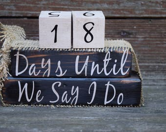 Vintage Wedding Countdown Block Set/Weeks Until  I Do - Black with White #