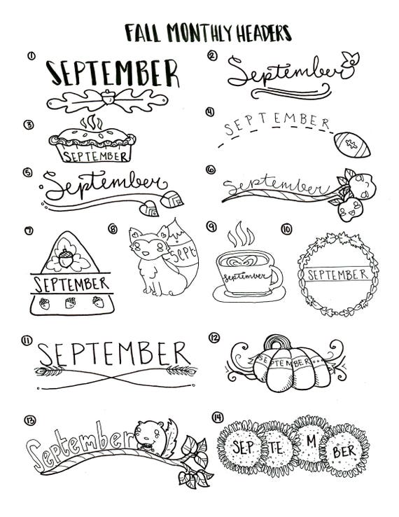 Fall Themed Headers and Icons Bullet Journal Printables