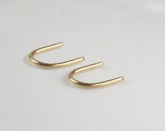 Gold u earrings, small arc earrings, gold filled sleeper earrings, tiny delicate gold earrings, open Hoop Earrings