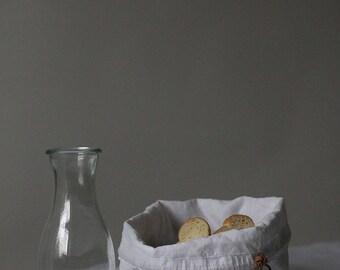 Bread bag, White linen bread bag, Bread basket, Natural Linen, Storage basket, Linen bag
