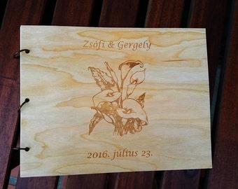 Wedding Guest Book Calla Design /Custom Photo Album Wood Engraved /Wood Guest Book /Calla Lily Design Photo Album /Wood Wedding Gift Album