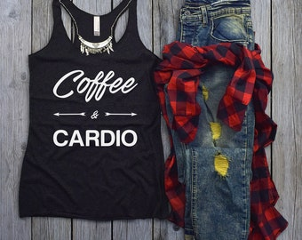 Workout Tank Top - Fitness Tank Top - Yoga Shirt - Gym Shirt - Workout Shirt - Fitness Tanks - Womens Tank Tops - Coffee & Cardio GOLD