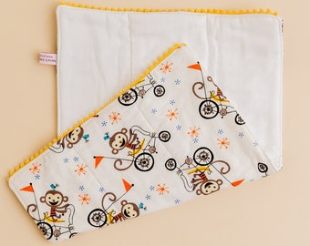 Unique baby burp cloth set for new baby gift for new mom baby shower gift set for newborn nursery animals monkey baby gift shower newborn