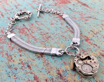 Steampunk Bracelet, Watch Movement Bracelet, Watch Band Bracelet, Silver Bracelet, Charm Bracelet, Gear Bracelet, Silver Jewelry, Bracelet
