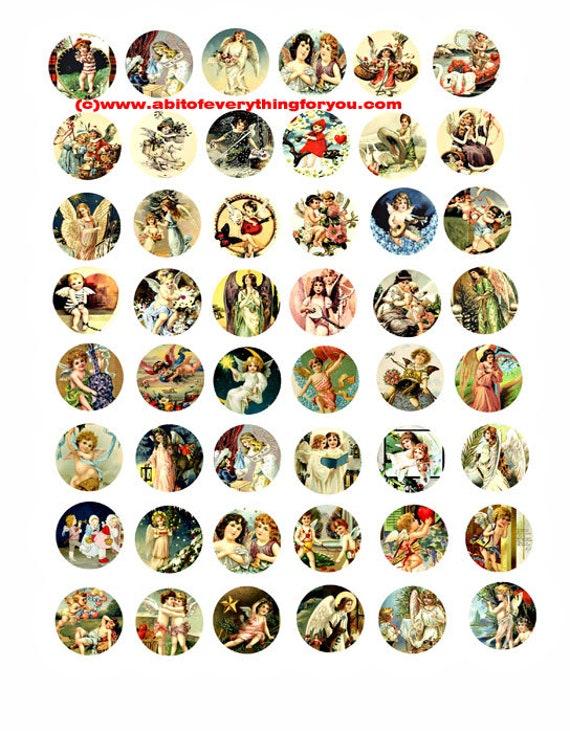 cherubs angels vintage art clip art digital download collage sheet 1 inch circles graphics postcards paintings images printables pendants