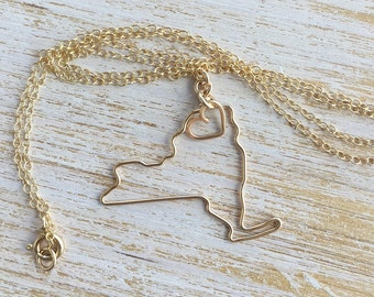 New York Necklace - New York State Necklace - NY Necklace Silver or Gold- I Love Ny - Personalized Gift - State Necklace - Gift for Her