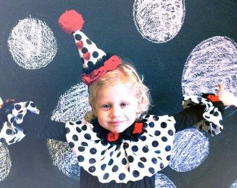 Halloween Costume, Clown Costume, Circus Costume, Adult, Children, Black, White, Red, Polka Dot, Collar, Cuffs, Hat, Batcakes