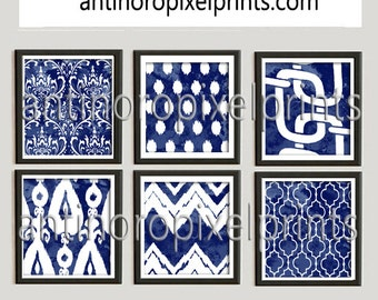 Ikat Watercolor Navy White  Damask Prints, Set of (6) Wall Art Prints, Custom Colors Available (Unframed) #201045809