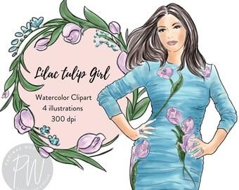 Lilac tulip Girl Watercolor Illustration Clipart collection, fashion illustration, fashion print, watercolour, fashion clipart, girl logos
