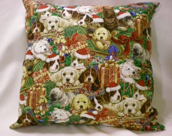 14 x 14 Multiple Holiday Dog Faces