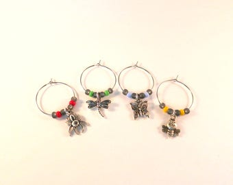 Bee Dragonfly Butterfly Spider Wine Charms / Drink Markers / Wine Glass Jewelry / Nature Inspired / Hostess Add-On Gift / Bar Accessories