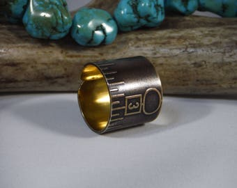 Upcycled Vintage Brass Ruler Ring