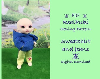 PDF Sewing Pattern for RealPuki Sweatshirt and Jeans