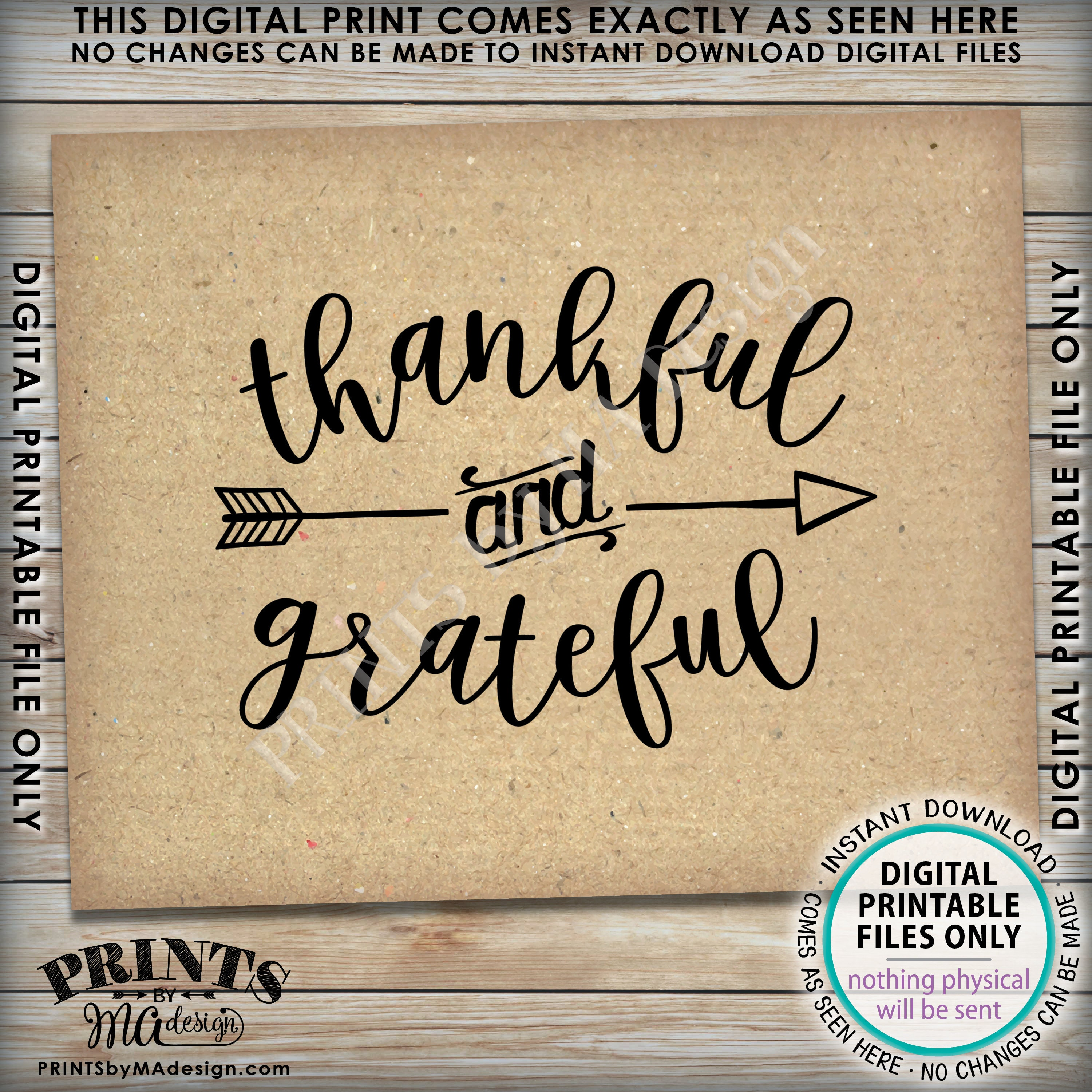 Thankful and Grateful Sign Thanksgiving Wall Decor Fall Decor ...