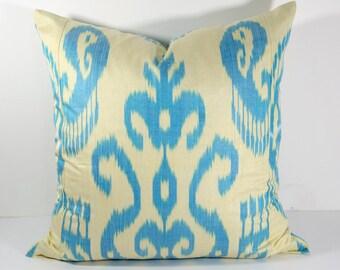 SALE cream and blue ikat pillow cover 20x20 inches size, beautiful handmade work, interior decoration, ikat cushion, uzbek ikat, ikat design