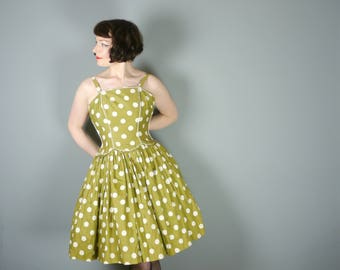 OLIVE green 50s cotton dress with white POLKA dot print - full CIRCLE skirt and thin straps - Rockabilly Mid Century sun dress - xs