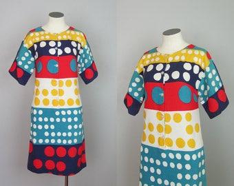 Vintage 1960s Mod Dress. 60s Mod Dress. Polka Dot. Cotton Dress. Joseph Magnin. XS