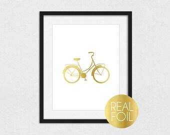 Bicycle Foil Print // Gold Foil // Rose Gold Foil // Silver Foil // Beach Cruiser Foil Print // Bike Foil Print // Bicycle Print // Bike Art