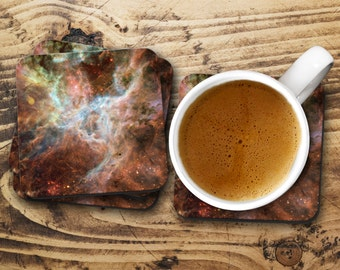 Nebula print, Drink coaster, Hardboard coaters, Set of four coasters, Drink mat, Coaster set, Nebula art