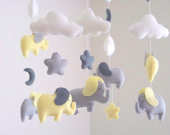 "As seen on ""Pretty Little Liars"" Elephant baby mobile, yellow and gray baby mobile, nursery crib mobile, baby mobile, moon mobile cloud star"
