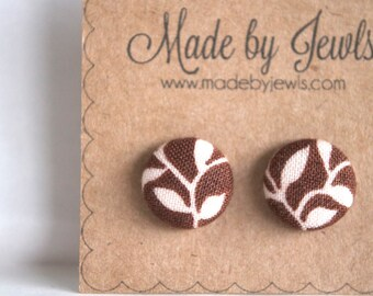 Mocha Brown Vine and Leaf Fall Handmade Fabric Covered Hypoallergenic Button Post Stud Earrings 10mm