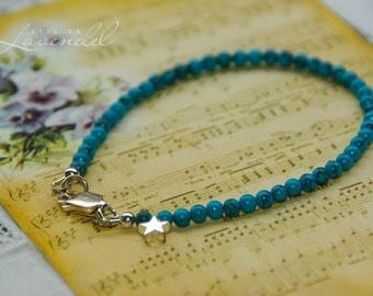 Turquoise Bracelet 925 Sterling Silver  Bracelet Genuine Gemstones Evereday Jewellery Delicate Bracelet December Birthstone