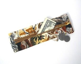 "Money Cuff Wrist Wallet- ""Secret Stash- Jungle Love""- hide your cash, key, jewels  in a hidden zipper."