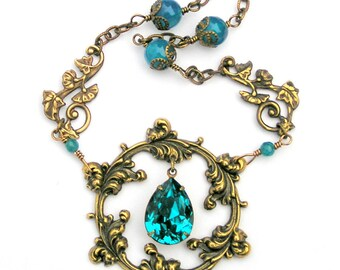 Aqua Pendant Necklace, Circle of Life, Vintage Style Necklace