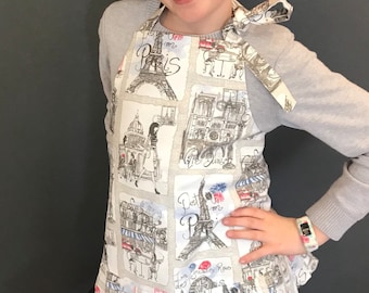 Kids paris print apron