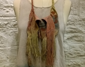 Natural dye handwoven nwcklace