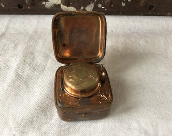 Antique 19th Century Traveling Inkwell / Leather Case