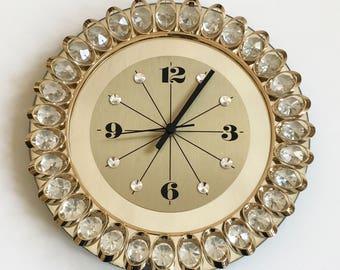 Gorgeous Hollywood Regency Style WALL CLOCK with JUNGHANS Quartz Clockwork | ∅ 30 Cm
