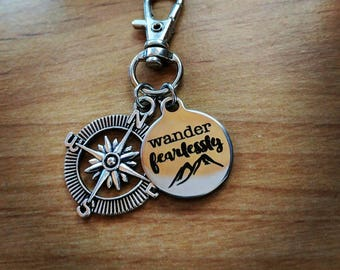 Wander Fearlessly Stainless Steel Keychain with Compass Charm