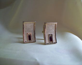 Vintage Swank Gold Quilt and Faux Ruby Cuff Links