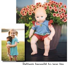"DOLLY Cora Culottes 14"" 15"" 18"" PDF Sewing Pattern"