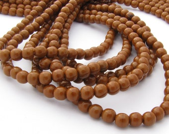 Umber Brown 4mm Smooth Round Czech Glass Beads 100pc  #2067
