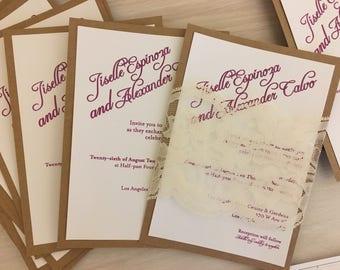 Kraft Wedding Invitation, Lace Wedding invitation, Belly band invitation, rustic wedding invitation, lavender wedding invitation