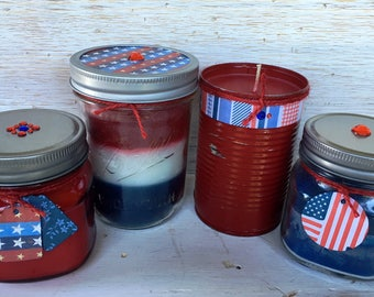Set of 4 Recycled Wax Patriotic Candles