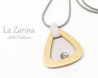 Zen-stijl houten en doek hanger zilver