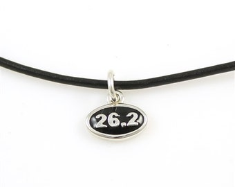 Marathon 26.2 Charm Necklace on Black Cord, Running Necklace with Mini Pendant, Add a Charm Necklace in Sterling Silver, Runners Jewelry