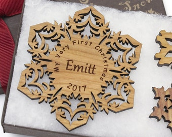 My First Christmas Ornament - Personalized Baby's 1st Christmas Gift Box Set - Custom Engraved Wood Snowflake Ornament - CHERRY WOOD Emitt