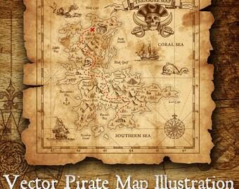 Pirate Island Treasure Map Vector Illustration