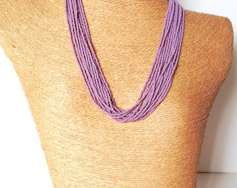 Seed bead necklace, purple boho necklace beaded necklace bridesmaids gifts mother of the bride necklace multistrand necklace,gift for her