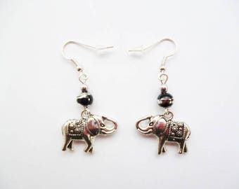 Elephant metal jewelry gift black glass bead earrings